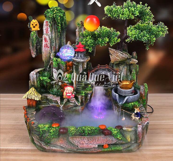 Hòn non bộ mini nuôi cá, có đài phun nước bonsai cây cảnh trang trí