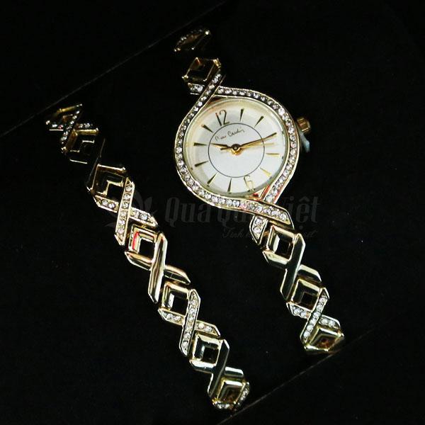 Combo Đồng Hồ Pierre Cardin Nữ và Vòng Đeo Tay Pierre Cardin Mặt Đính Đá Quý Chính Hãng