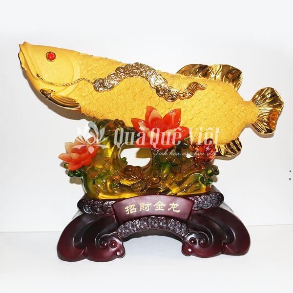 Tượng Cá Rồng Vàng Hoa Ngọc Phong Thủy, Đế Gỗ Hoa Sen