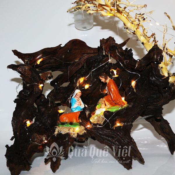 Hang Đá Giáng Sinh Mini Độc Đáo, Chế Tác Từ Gỗ Tự Nhiên