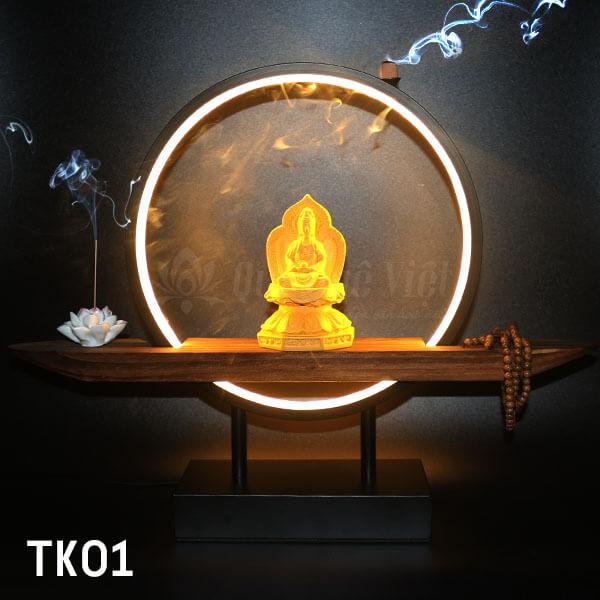 Thác Khói Trầm Hương TpHCM, Tượng Phật Ngồi Trên Đế Gỗ, Vòng Tròn Chiếu Sáng Bằng Đèn Led